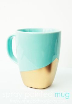 Spray-painted mug. Have the gold paint. Perfect for the hip/edgy friend.