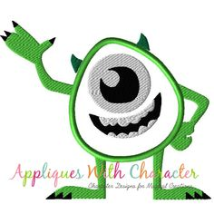 5cb948548c6 Monsters Mike Appilque Design by Appliques With Character Applique Designs