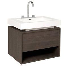 Fresca Potenza Grey Oak Bathroom Cabinet with Vessel Sink (Potenza Modern Bathroom Cabinet w/ Vessel Sink), Gray Single Sink Bathroom Vanity, Vanity Sink, Bath Vanities, Bathroom Wall, Single Vanities, Fresco, Oak Bathroom Cabinets, Elegant Bathroom Decor, Ideal Bathrooms