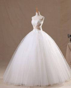 Elegant Tulle & Satin Applique Sweetheart Brush Train Ball Gown Wedding Dresses