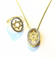 Star of David Jewelry Hadassah Judaica Jewish Set Ring Hoshen Necklace 18 Karat Gold Layered with Zirconia by HADASSAHjewelry on Etsy