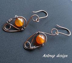 Cobber Wire-work earrings  oxidized carnelian by lisaastrup