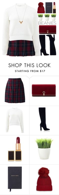 """~Hat Head: Pom Pom Beanies~"" by amethyst0818 ❤ liked on Polyvore featuring Lands' End, Louise et Cie, T By Alexander Wang, Gianvito Rossi, Tom Ford, Kikkerland, Smythson, Topshop and Louis Vuitton"