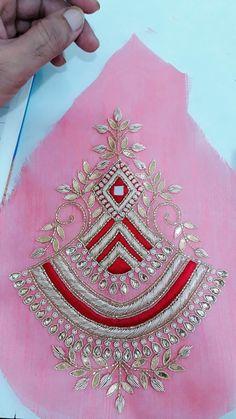 Hand Embroidery Design Patterns, Hand Embroidery Dress, Kurti Embroidery Design, Embroidery Works, Embroidery Motifs, Embroidery Fashion, Embroidery Kits, Maggam Work Designs, Hand Work Blouse Design