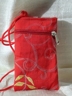 iPhone pouch. Embroidered mobile case cover. Silk cell by Artikrti, $19.00