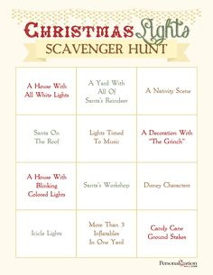 Free Printable for a Christmas Lights Scavenger Hunt! You can play in the car with this kids as you drive around looking at lights! Christmas Scavenger Hunt, Scavenger Hunt Birthday, Christmas Games, Christmas Activities, All Things Christmas, Christmas Lights, Christmas Holidays, Scavenger Hunts, Christmas Ideas
