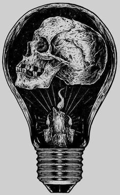 Skull in a Lightbulb, illustration. Art And Illustration, Art Macabre, Illustrator, Tatoo Art, Skull Tattoos, Skull And Bones, Skeleton Bones, Skull Art, Ram Skull
