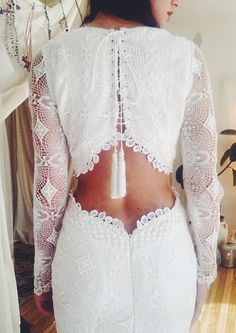 "Long Sleeve Crochet Lace Bohemian Wedding Dress with Open Back - ""Brit"" by Daughters of Simone"