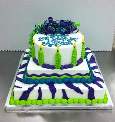 Zebra Stripes and Candles cake by Stephanie Dillon, LS1 Hy-Vee