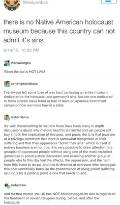 im tired of goyim who do this! native american genocide was terrible and there should be a museum for it but it was not a holocaust! stop comparing to 100 MILLION people dies 13 times the amount of people that died in the holocaust World Problems, The More You Know, Faith In Humanity, Social Issues, History Facts, Social Justice, Feminism, Equality, Things To Think About