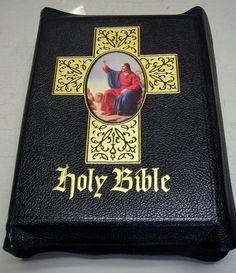 Holy Bible Clarified Edition Black Leather Gold Gilt 1959 Illustrated