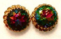 VTG ANTIQUE SCHIAPARELLI WATERMELON RHINESTONE EARRINGS, TOURMALINE EFFECT  #Jewelry #Vintage #Antique