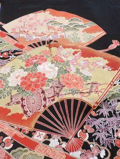 Japanese Kimono Silk Black Tomesode Folding Fan P041956   eBay
