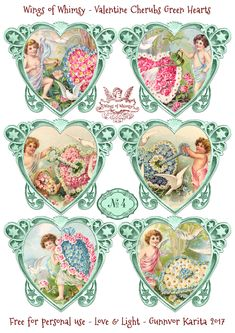 Wings of Whimsy: Valentine Cherubs Hearts Green #vintage #ephemera #freebie #printable #valentine #heart #cherub