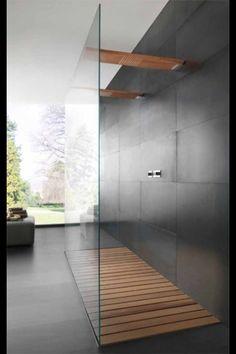 Home! wood Tile Shower Walk In - Shower floor, Double shower, Bathroom inspiration, Bathroom design, Wet Rooms, Interior Exterior, Interior Design, Luxury Interior, Interior Ideas, Interior Styling, Interior Shop, Design Interiors, Scandinavian Interior