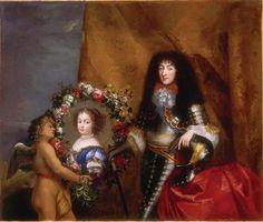 Philippe de France, Monsieur, duc d'Orléans, avec le portrait de sa fille aînée Marie-Louise d'Orléans, future reine d'Espagne, par Mignard