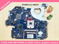 Original For Acer Aspire 5750 5750G Motherboard MBBYL02001 MBRCG02007 P5WE0 LA-6901p with 8 Graphics memory GT540M #women, #men, #hats, #watches, #belts