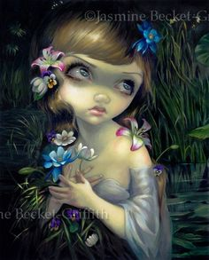 Portrait of Ophelia gothic fantasy lowbrow art by strangeling, $13.99