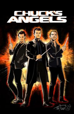 My Supernatural spin on Charlie's Angels featuring Gabriel, Castiel, and Balthazar Can buy a print/shirt/iphone case here:society6.com/product/chucks-an… Related Works: &nb...
