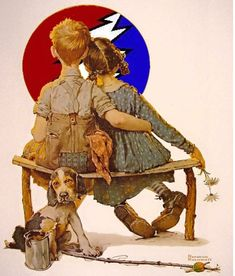 Norman Rockwell Boy and Girl Gazing at the Moon, oil on canvas, private collection. Norman Rockwell was a American painter and illustrator. His works enjoy a broad popular appeal in. Norman Rockwell Prints, Norman Rockwell Paintings, Pub Vintage, Vintage Art, Vintage Images, Painting Prints, Art Paintings, Art Prints, Spray Painting