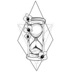 Sanduhr & Blumen Tattoo Design - Sanduhr & Blumen Tattoo Design, Check more at - Time Tattoos, Leg Tattoos, Body Art Tattoos, Small Tattoos, Sleeve Tattoos, Cool Tattoos, Hourglass Drawing, Hourglass Tattoo, Flower Tattoo Designs