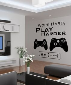 Vinyl Wall Decal Sticker Work Hard Play Harder Decal Different sizes are available. Email us and we will give you a fair price. Some wall decals may come in multiple pieces due to the size of the desig Gamer Bedroom, Boys Bedroom Decor, Bedroom Ideas, Boys Game Room, Boy Room, Gaming Room Setup, Game Room Design, Game Room Decor, Vinyl Wall Decals