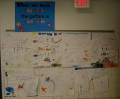 "When We Work Together the Picture is Complete!  Activity I did using ""The Crayon Box that Talked""   I had students all work together to make a picture."