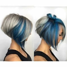 67 Hair Highlights Ideas, Highlight Types, and Products Explained Pretty Hairstyles, Bob Hairstyles, Teenage Hairstyles, Pixie Haircuts, Bridal Hairstyles, Cool Hair Color, Hair Highlights, Grey Hair With Blue Highlights, Purple Peekaboo Hair