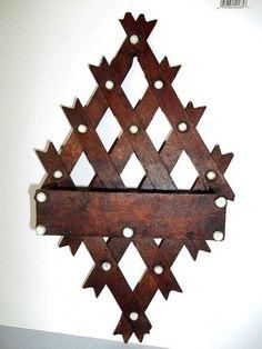 Antique Wooden Wall Pocket Tramp Art Holder Victorian Comb Holder Wood Box   eBay