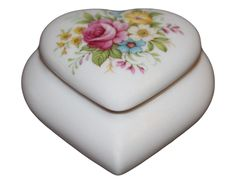 LIMOGES France Signed Porcelain Floral Heart Shaped Trinket Box