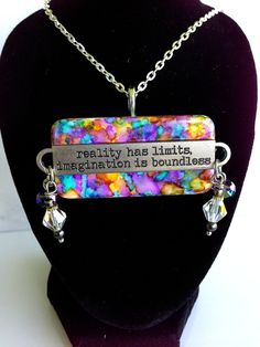 """Upcycled Alcohol Ink Metal """"Reality"""" Word Band Domino Pendant by CraftyColettes, on Etsy"""