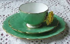 Aynsley Green BUTTERFLY HANDLE Cup, Saucer,Plate Trio⚜