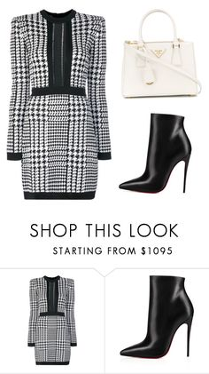 """""""Untitled #326"""" by jovanaaxx on Polyvore featuring Balmain, Christian Louboutin and Prada"""