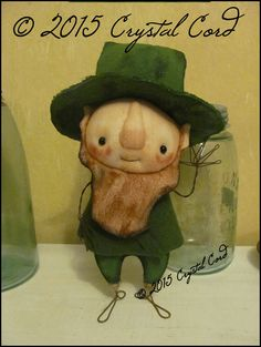 Leprechaun free-standing Doll Whimsical creepy cute by emsprims