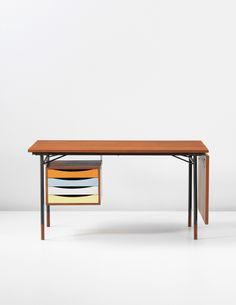 Finn Juhl; #BO69 Teak, Painted Wood, Enameled Steel and Brass Desk for Bovirke, 1953.