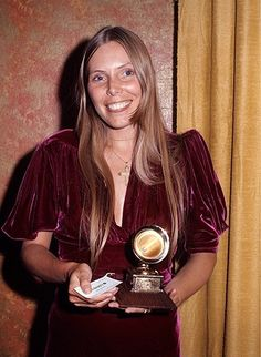 "Joni Mitchell at the 1970 Grammy's where she picked up a Grammy for Folk Album of the Year for ""Clouds."""