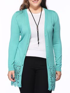 Chic Women's Lace Patchwork Buttoned Cardigan