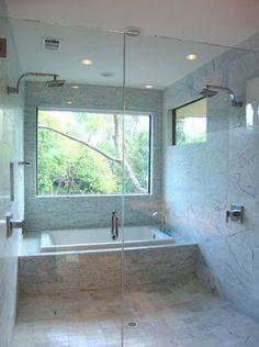 Wonderful And Cozy Modern Bathtub Design Ideas 39 Bathtub Shower Combo, Window In Shower, Bath Window, Bathroom With Window, Shower Screen, Tub And Shower, Bathroom Windows, Modern Bathtub, Modern Bathroom Design