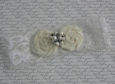 Ivory Bridal Stretch Lace Garter set with by DESIGNERSHINDIGS, $14.00