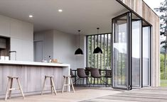 Bi fold doors within open plan kitchen diner