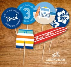 Vintage Beach Kombi Surf Cupcake Toppers