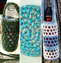 10 popular free #crochet patterns for water bottle cozies
