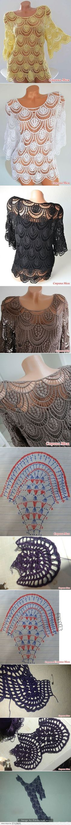 37 super ideas for knitting patterns free summer woman crochet diagram Crochet Bolero, Poncho Au Crochet, Pull Crochet, Crochet Diy, Crochet Motifs, Crochet Shirt, Crochet Diagram, Crochet Woman, Irish Crochet
