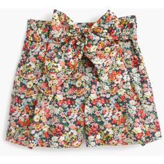 J.Crew Tie-Waist Short ($99) ❤ liked on Polyvore featuring shorts, patterned shorts, floral shorts, cotton shorts, floral print shorts and print shorts