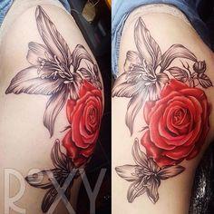 Big Rose and Lilies Thigh and Bum Tattoo 🌺🌷 #rose #rosetattoo #lily #lilytattoo #flowers #flowertattoo #floraltattoo #floral #femaletattooartist #instaink #instauk #ukartist #customartist #femaleartist #londonink #londonartist #londontattoo #londontattoostudio #london #thightattoo #inkedup #inkaddicts #ink #cheyenneink #swashdrivetattoomachines #tattoo #tattoosforwomen #tattoosforever