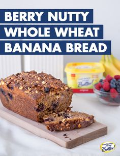 """Early fall is full of great produce and fruits, and Berry Nutty Whole Wheat Banana Bread is the perfect way to save your extra berries and bananas before turning bad. Use the I Can't Believe It's Not Butter!® Best Ever Banana Bread recipe, but substitute whole wheat flour, and stir in 1 cup of assorted fresh berries, like blueberries and raspberries, 1/2 of cup unsalted, chopped mixed nuts, and 1/4 of cup flax seeds into the batter. You'd be """"berry nuts"""" not to bake this bread!"""