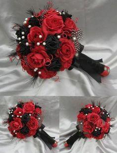 HARLEQUIN Black Red and white Luxury bridal bouquet by ericacavanagh, - Hochzeit Black Bouquet, Red Bouquet Wedding, Bridal Bouquets, Silk Flower Bouquets, Rose Bouquet, Black Red Wedding, Black Bride, Red Black Weddings, Prom Flowers
