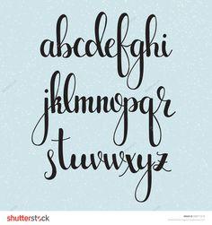 Handwritten brush style modern calligraphy cursive font. Calligraphy alphabet. Cute calligraphy letters. Isolated