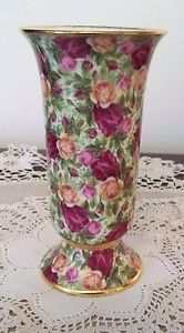Royal Albert Old Country Roses Chintz Pedastol VASE - RARE 6 inch