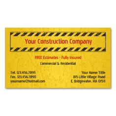 Construction Business Card Templates | ... Construction Equipment ...